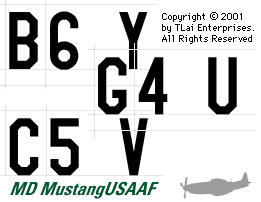 Collage of Aircraft Codes:  B6 Y,  G4 U,  C5 V,  MD MustangUSAAF.